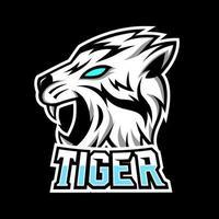 blanco tigre enojado mascota juego deporte esport logo plantilla colmillos largos vector
