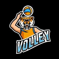 Volley sport or esport gaming mascot logo template, for your team vector