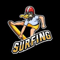 Surfing sport or esport gaming mascot logo template, for your team vector