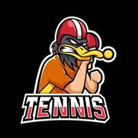 Tennis sport or esport gaming mascot logo template, for your team vector