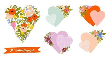 Set of floral heart shapes for Valentine's day greeting cards, wedding invitations, baby showers. Vector illustration.