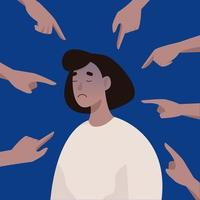 Bullying or humiliation at work. Young upset woman victim of harassment. Fingers pointing at a woman. Vector illustration in flat style.