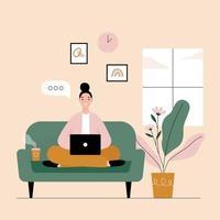 mujer independiente que trabaja en la computadora portátil en casa. trabajo a distancia a domicilio en cuarentena. ilustración de estilo plano de vector. vector
