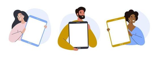 Set of people holding tablets with blank screens. Colorful vector illustration.