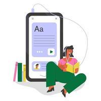 estudiante con auriculares escuchando curso en línea. Ilustración del concepto de educación remota. vector