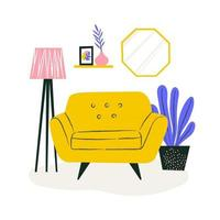 Cute couch in cozy apartment with plant and bookshelf. Home interior concept. Spot illustration for website. vector