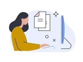 Office worker sitting at the desk. Spot illustration for website. vector