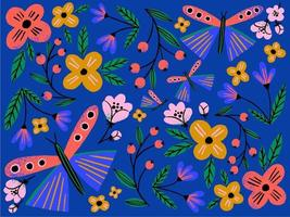 Hand drawn creative flowers and butterflies pattern on dark blue background. Colorful floral pattern for textile design and web banner. vector
