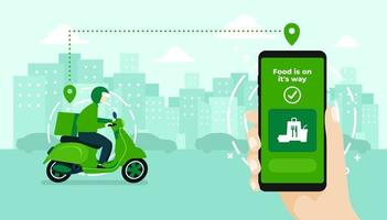 Food delivery service by scooter with courier. Hand holding mobile application tracking a delivery man on a moped. city skyline in the background. vector