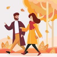 Man and Woman Walking on Fall Season vector