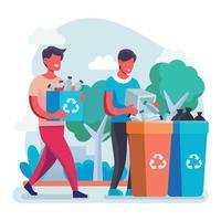 hombre recogiendo botella para reciclar vector