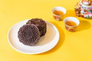 Chinese moon cake dark chocolate flavor for Mid-Autumn Festival photo