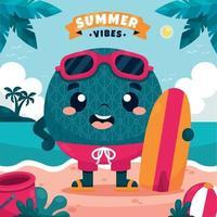 Melon Fruit Character Enjoying Summer at Beach vector