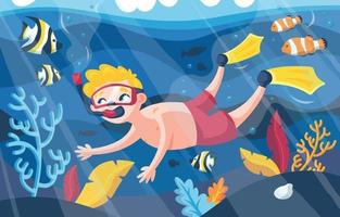 Diving in the Sea Illustration vector