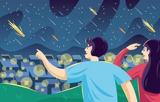 People Watching Meteor Shower vector