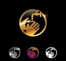 Golden Wash Hand Vector Sign