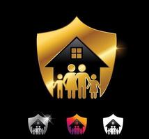 Golden Home Shield and Family Vector Sign
