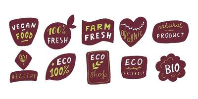 ArtEco badge set in handraw style. Organic logo. Vegan product labels, natural food and eco vegetables badges, fresh and healthy product stickers. Vector illustration