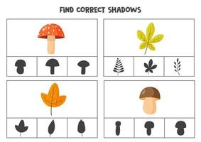 Find correct shadow of autumn leaves and mushrooms. Printable clip card games for children. vector