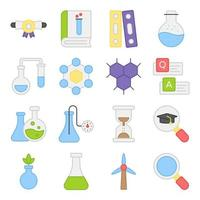 Pack of Science and Experiment Flat Icons vector