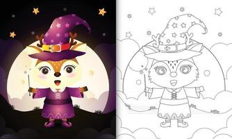 coloring book with a cute deer using costume witch halloween vector