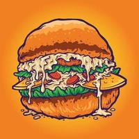 dibujos animados de comida rápida de hamburguesa vector