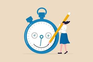 Time management, manage project deadline, improve work efficiency or productivity to finish project on time concept,  happy entrepreneur woman drawing smile face on time counting down timer clock. vector