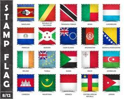 Stamp with official country flag pattern and old grunge texture and countries name . Square shape . Vector . Set 8 of 12 on this series . All national flags of the world  .