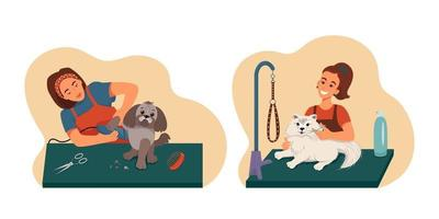 Grooming pet set, groomers wash groomed dogs, vector collection of illustrations in flat style