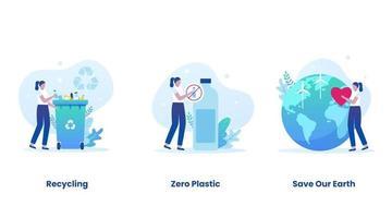 Trash recycling concept vector illustration set