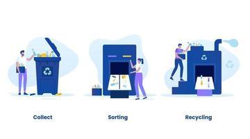 Trash recycling process concept vector illustration set