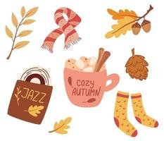 Cozy autumn. Set of cute autumn elements scarf, knitted socks, warming drink, jazz record, autumn leaves. Idea of coziness and comfortable lifestyle, winter or autumn mood. Hygge vector illustration.