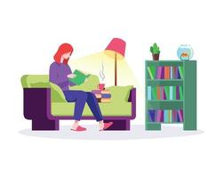 Girl reading book in home illustration concept vector