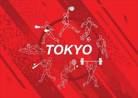 Tokyo, Japan flag concept, Sports equipment background, world game. vector