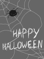 Happy halloween lettering text Cute spider cobwebs poster banner brochure vector