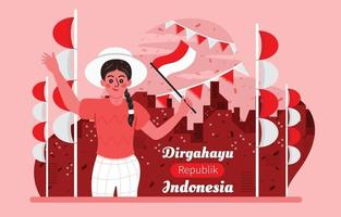 Young Woman Celebrates Indonesia Independence Day vector