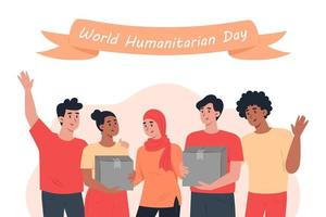 World humanitarian day, a group of volunteers holding a cardboard boxes vector