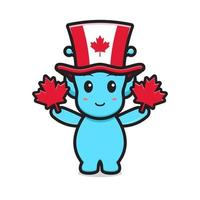 lindo personaje alienígena celebrado el día de canadá dibujos animados vector icono ilustración