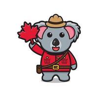 lindo personaje de koala celebró el día de canadá dibujos animados vector icono ilustración