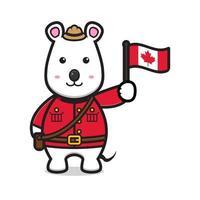 lindo personaje de ratón celebró el día de canadá dibujos animados vector icono ilustración