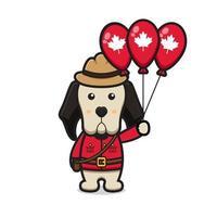 lindo personaje de perro celebró el día de canadá dibujos animados vector icono ilustración