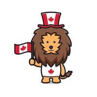 lindo personaje de león celebró el día de canadá dibujos animados vector icono ilustración