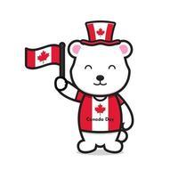 lindo personaje de oso blanco celebró el día de canadá dibujos animados vector icono ilustración