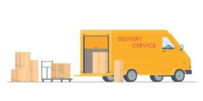 Vector illustration of boxes,drawing of delivery express.Delivery truck vector flat illustration. Fast delivery concept. Post service.