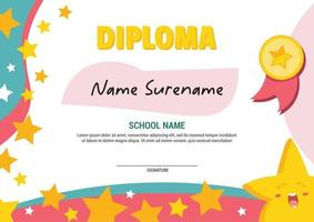 School diploma template certificate kids with flying stars award apretiation. vector