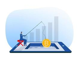 businessman fishing rod  a giant bitcoin mining growth wealth concept on tablet background vector illustration