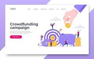 Crowdfunding landing web page concept of fundraising. vector