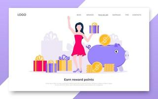Earn points business landing page concept flat style design vector illustration.