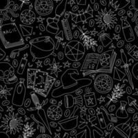 BLACK SEAMLESS BACKGROUND WITH SILHOUETTES OF OBJECTS FOR MAGIC vector