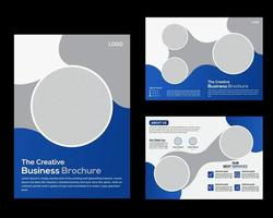 Brochure template design and 4 Page Modern creative Business profile blue gradient shapes.eps vector